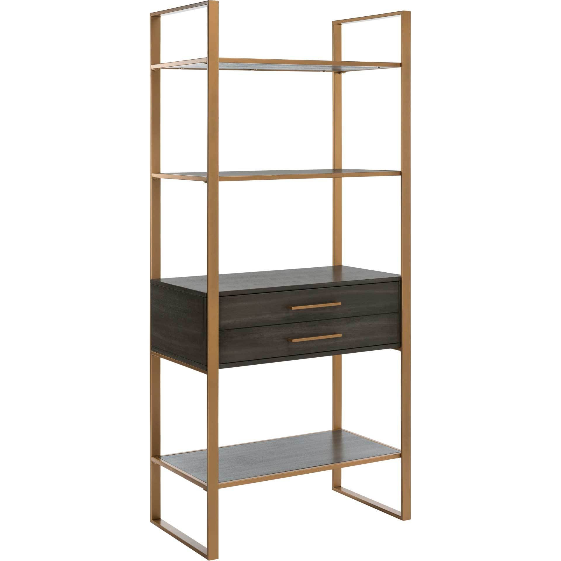 Skadi 4 Tier 1 Drawer Etagere Gold/Gray Oak
