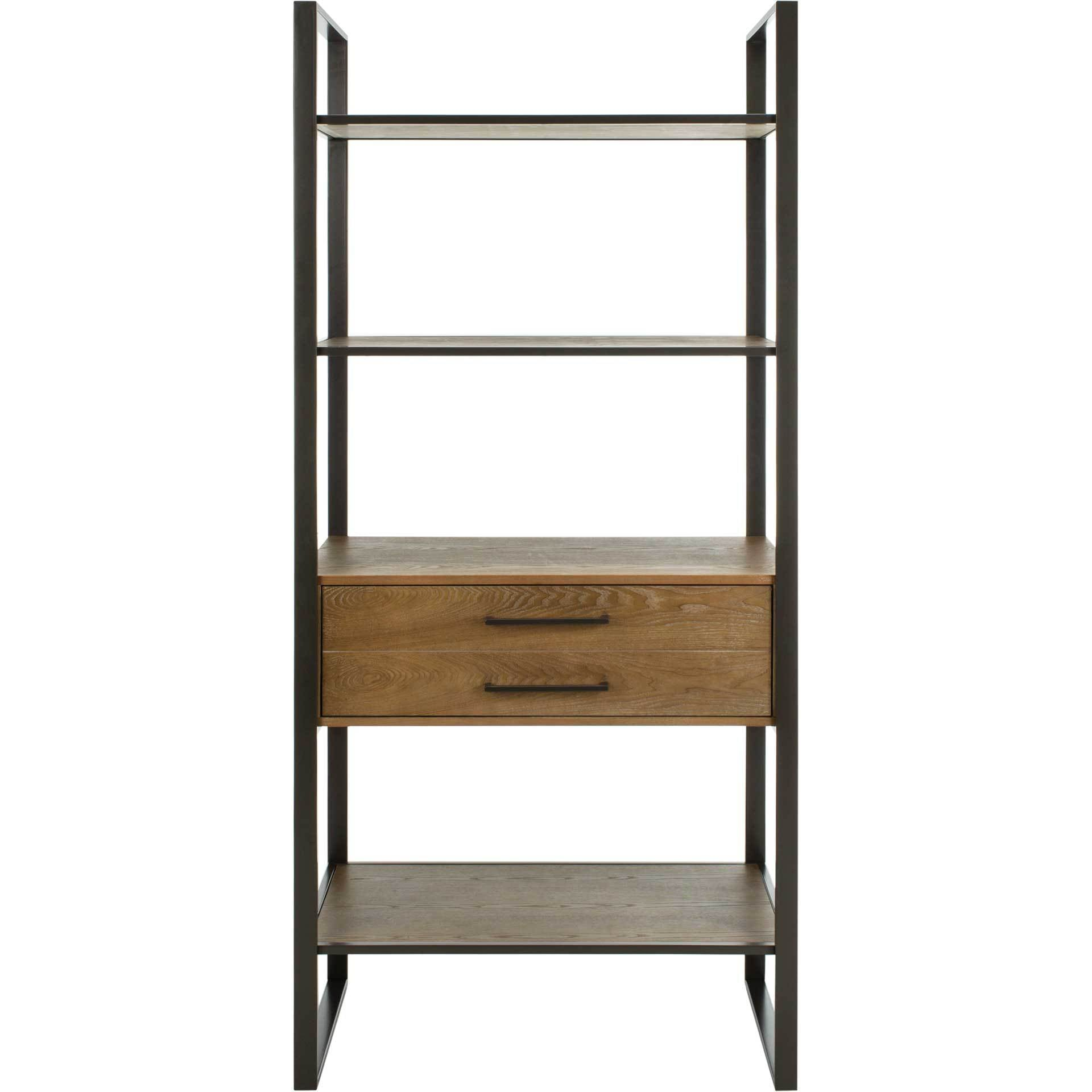 Skadi 4 Tier 1 Drawer Etagere Gun Metal/Rustic Oak