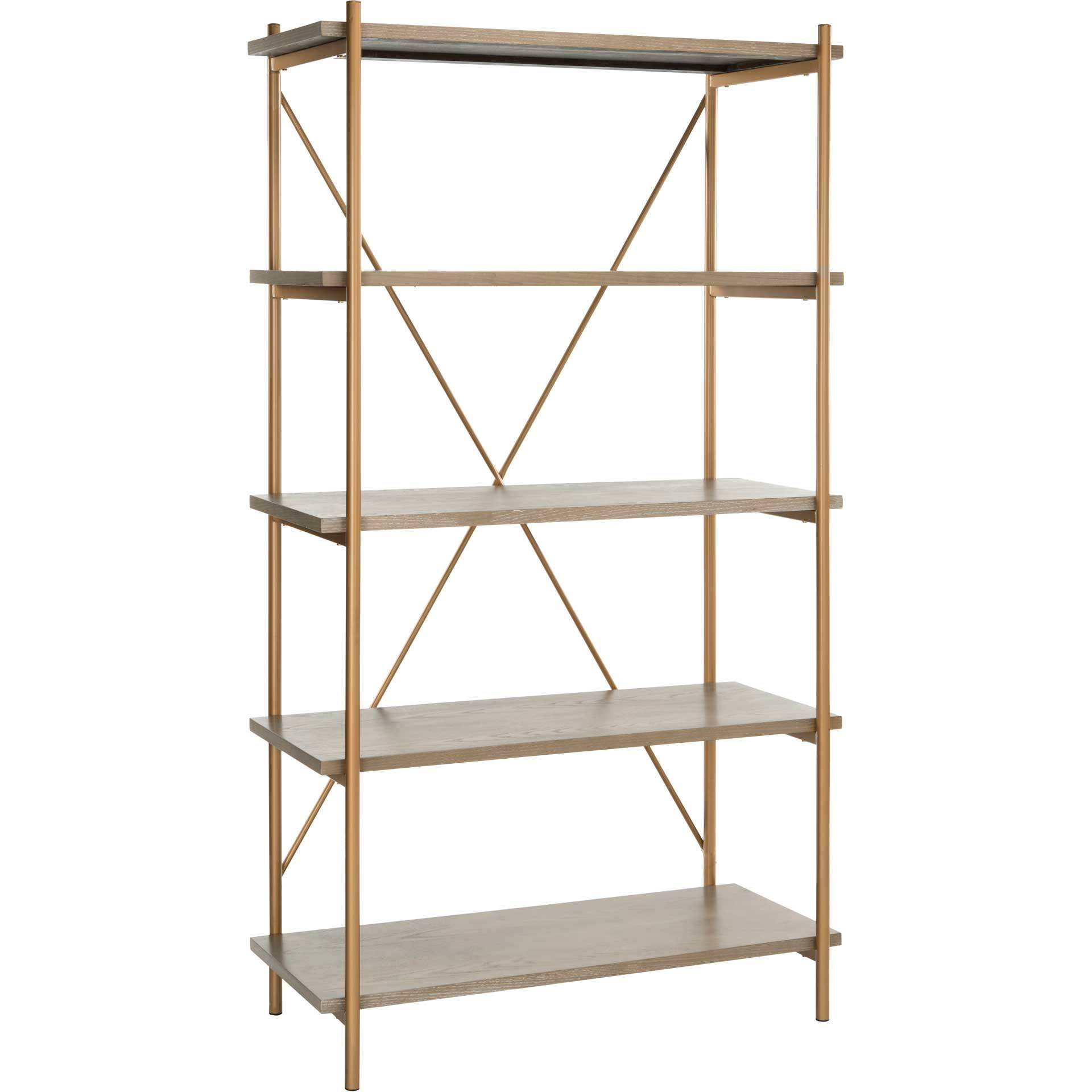 Ridge 5 Tier Etagere Gold Liquid/Rustic Oak