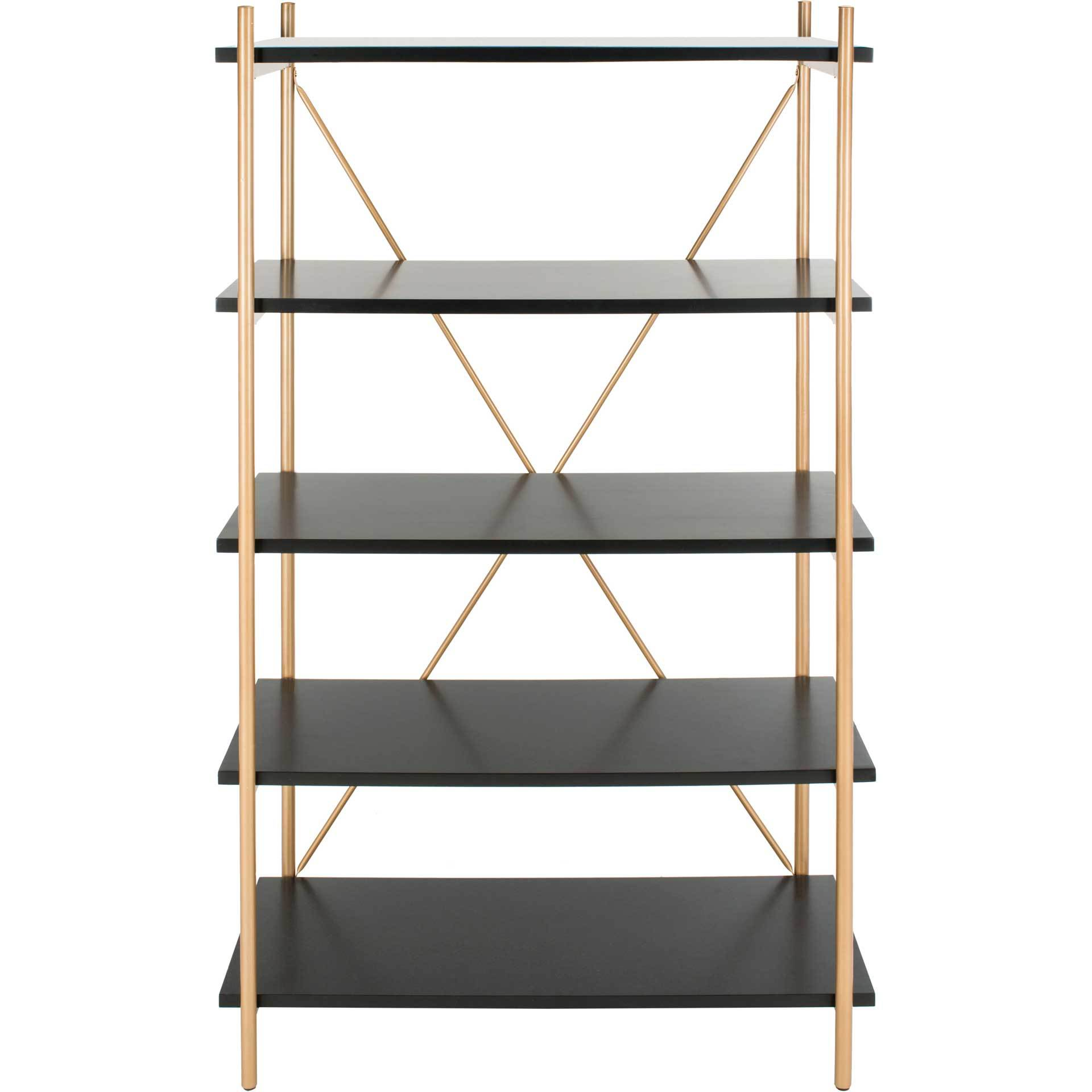 Ridge 5 Tier Etagere Gold Liquid/Black