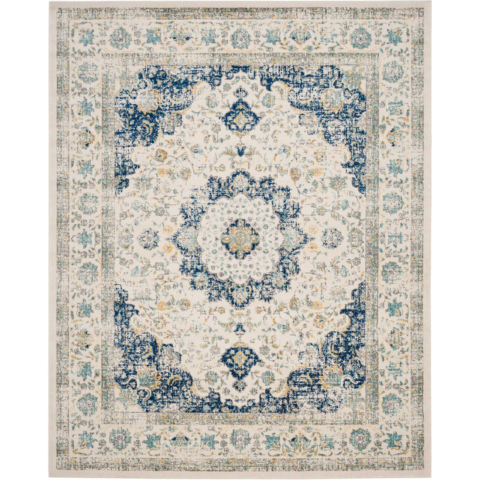 Evoke Medallion Ivory/Blue Area Rug