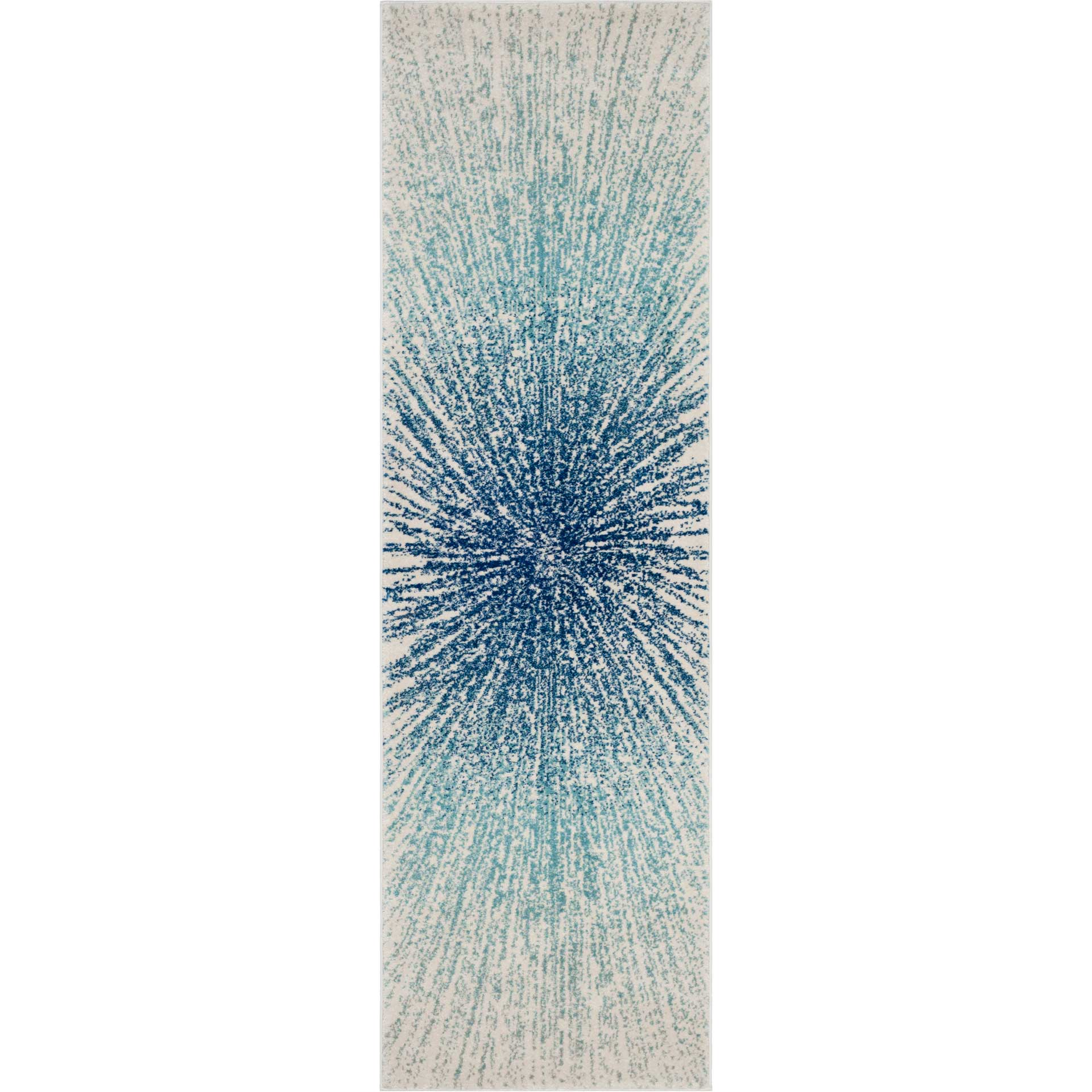 Evoke Burst Royal/Ivory Runner Rug