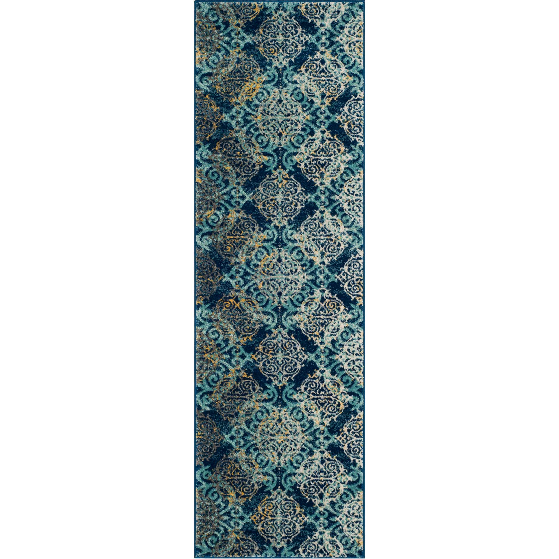 Evoke Filigree Royal/Light Blue Runner Rug