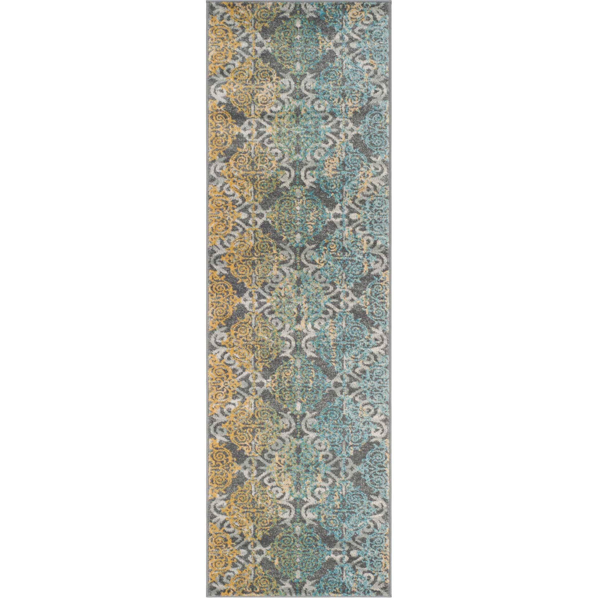 Evoke Filigree Gray/Ivory Runner Rug