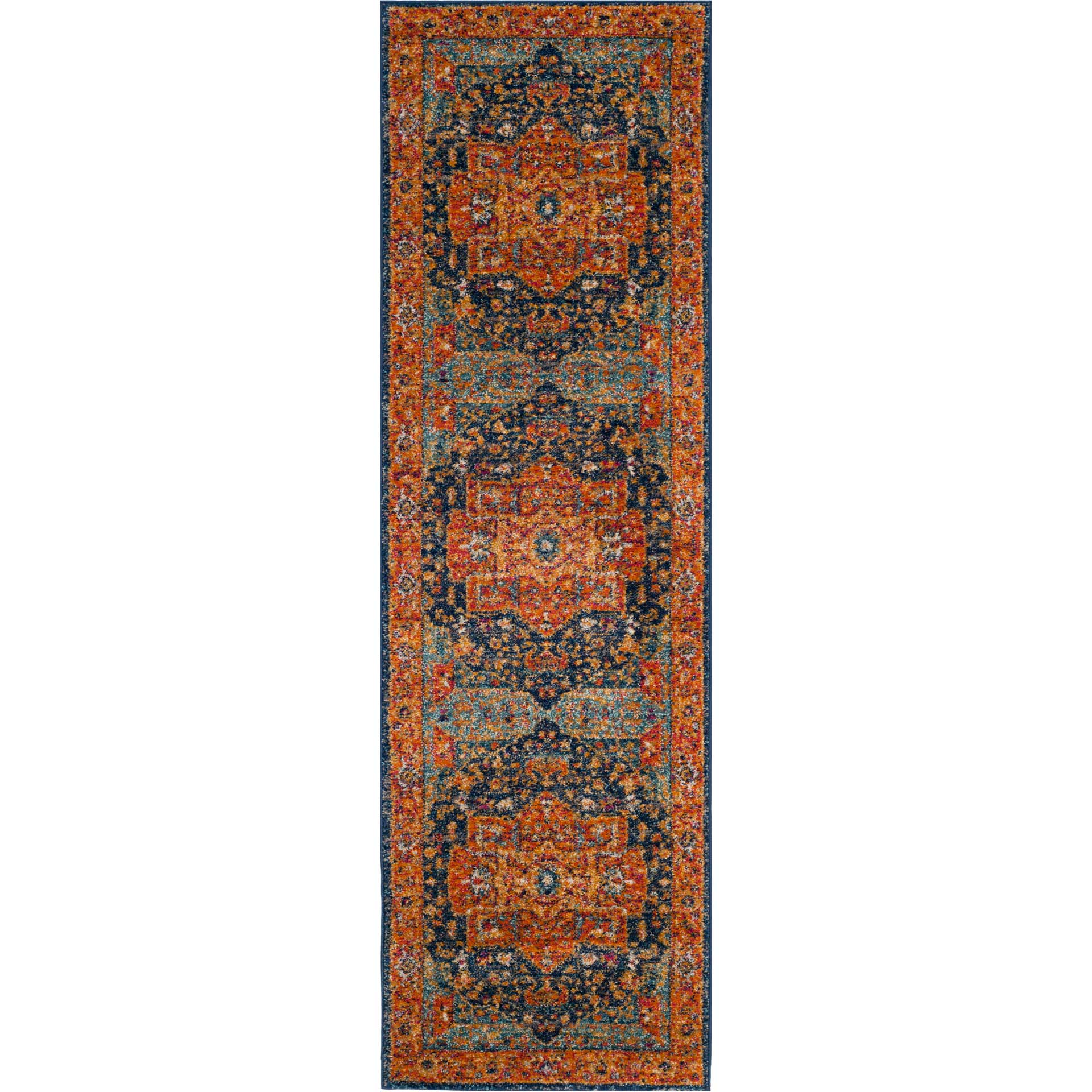 Evoke Blue/Orange Runner Rug