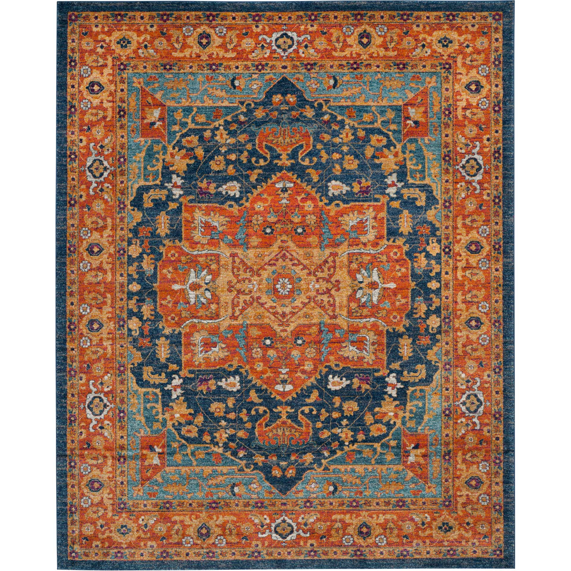 Evoke Blue/Orange Area Rug