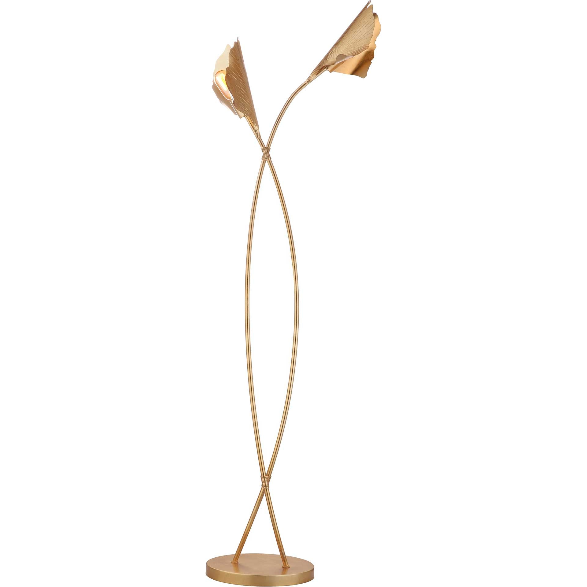 Mekhi Ginkgo Leaf Floor Lamp Gold Leaf