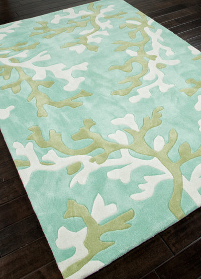 Fusion Coral Fixation Turquoise Blue/White Area Rug