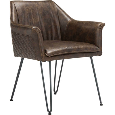 Esabella Leather Dining Chair Dark Brown (Set of 2)
