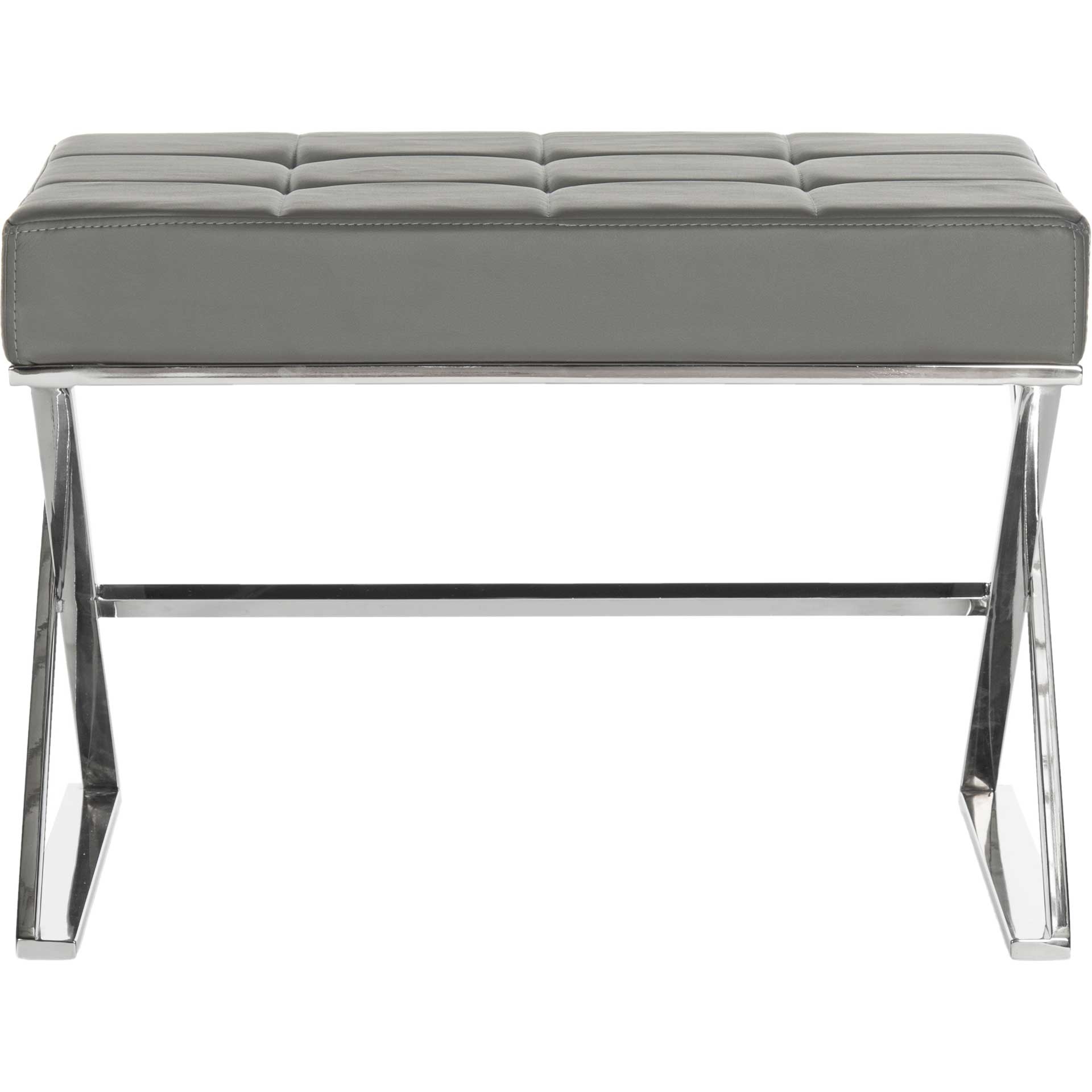 Mingle Ottoman Gray/Chrome