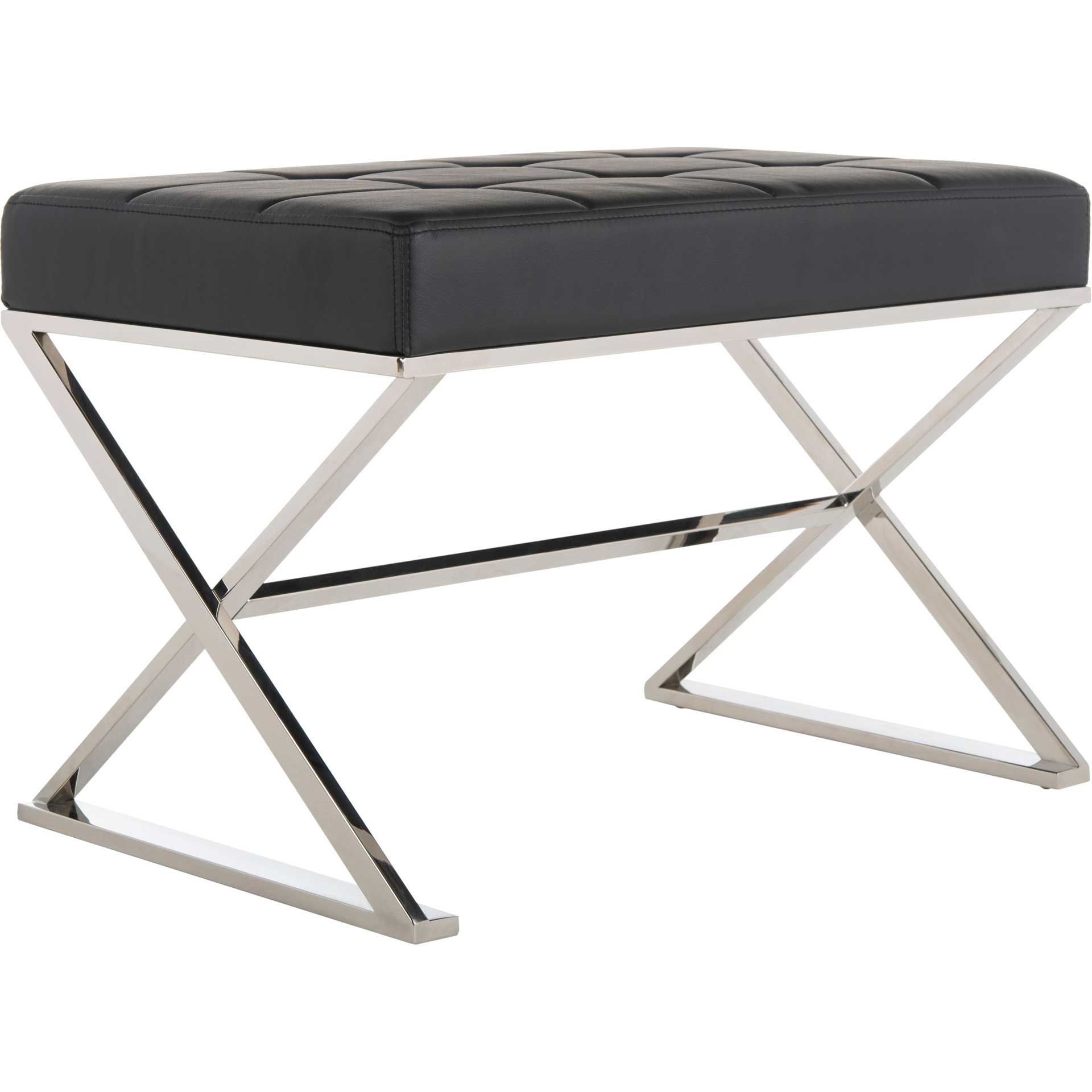 Mingle Ottoman Black/Chrome