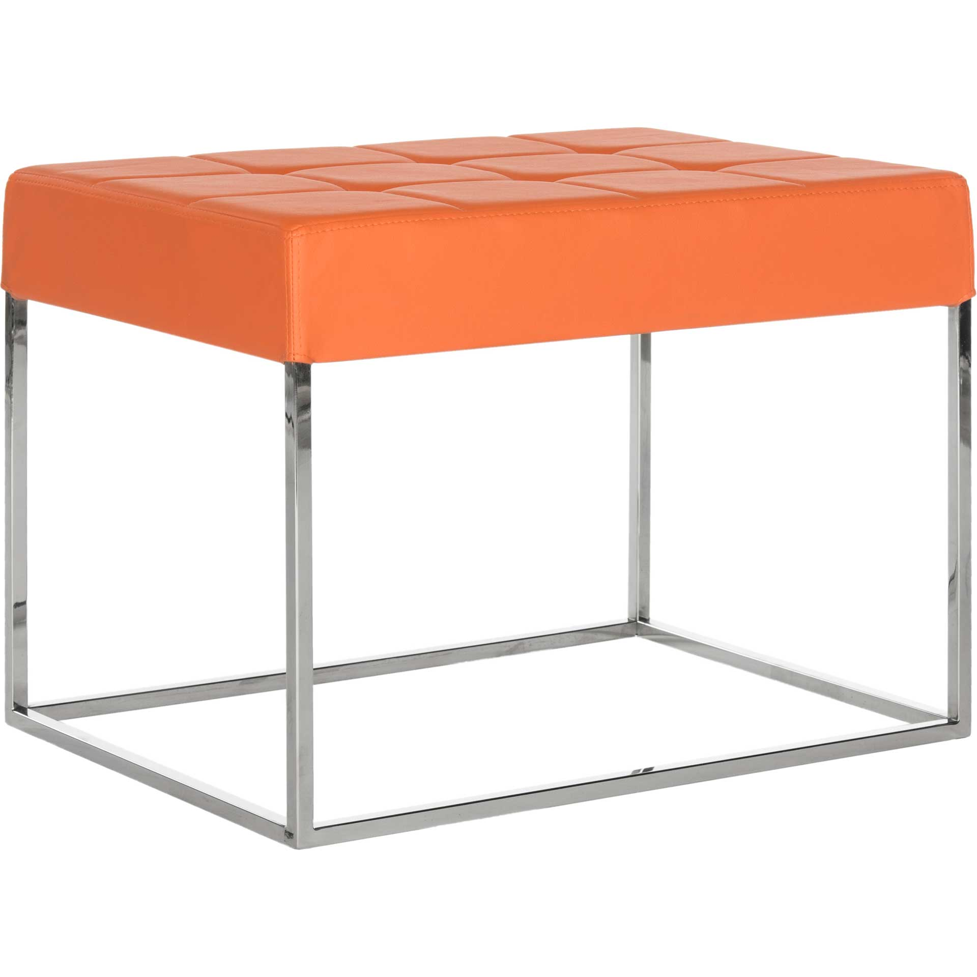 Roger Ottoman Orange/Chrome