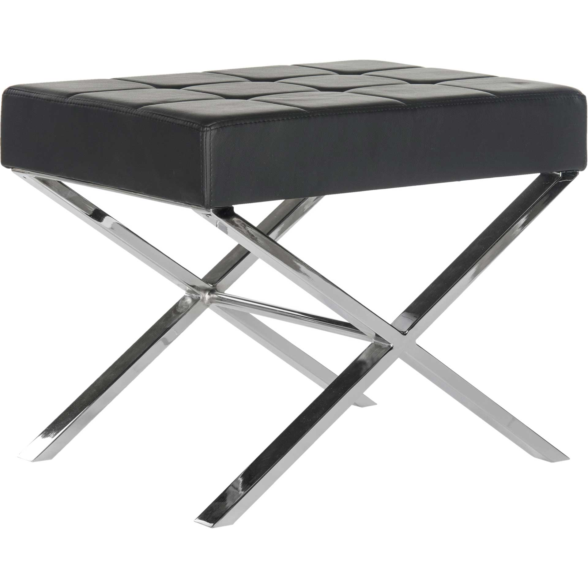Simon Ottoman Black/Chrome