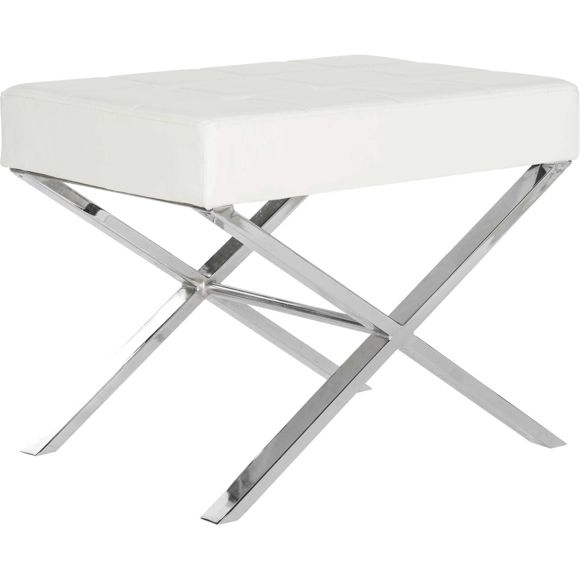 Simon Ottoman White/Chrome
