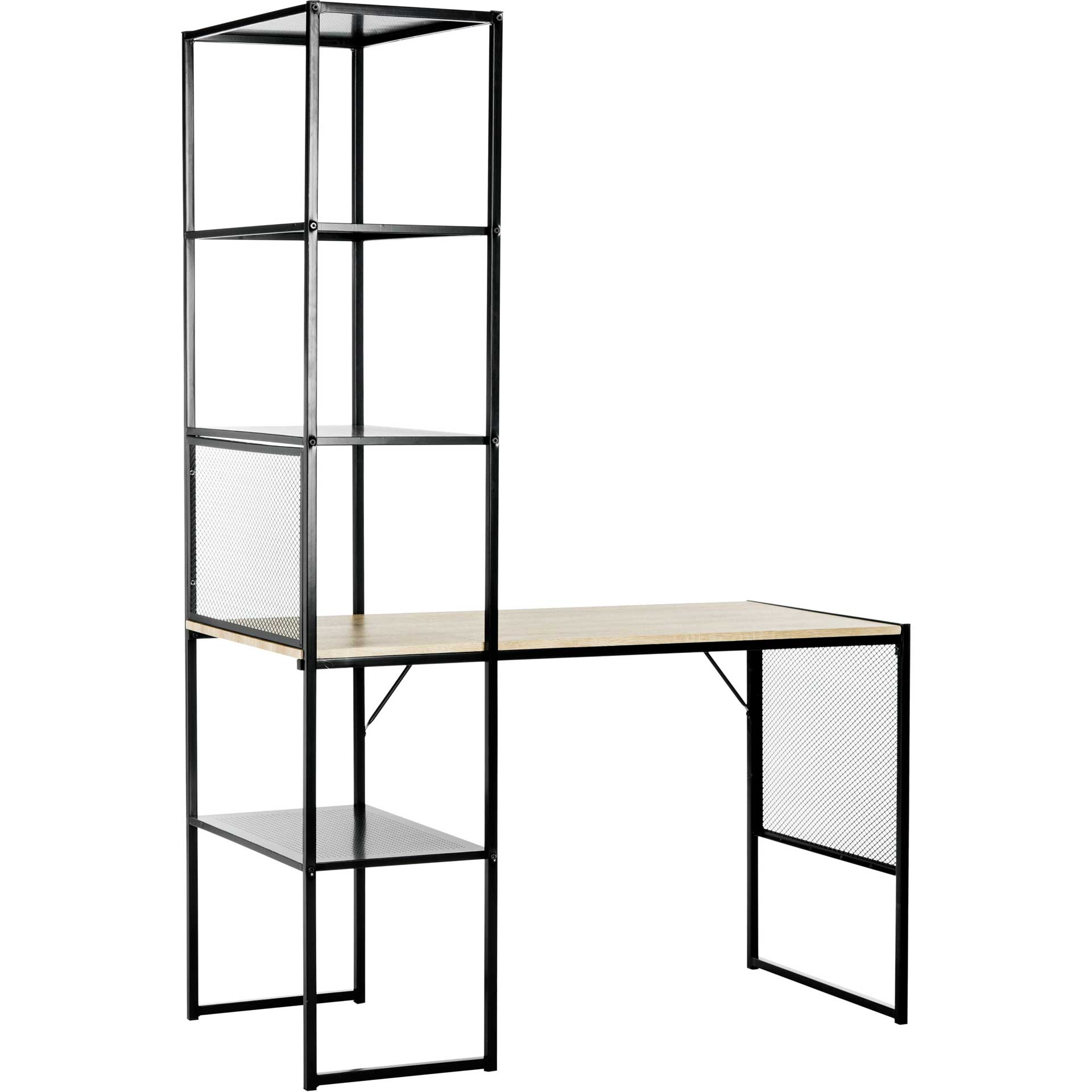 Abdiel Corner Writing Desk With Storage Black
