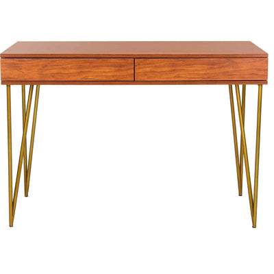 Pierce Two Drawer Desk Natural/Gold