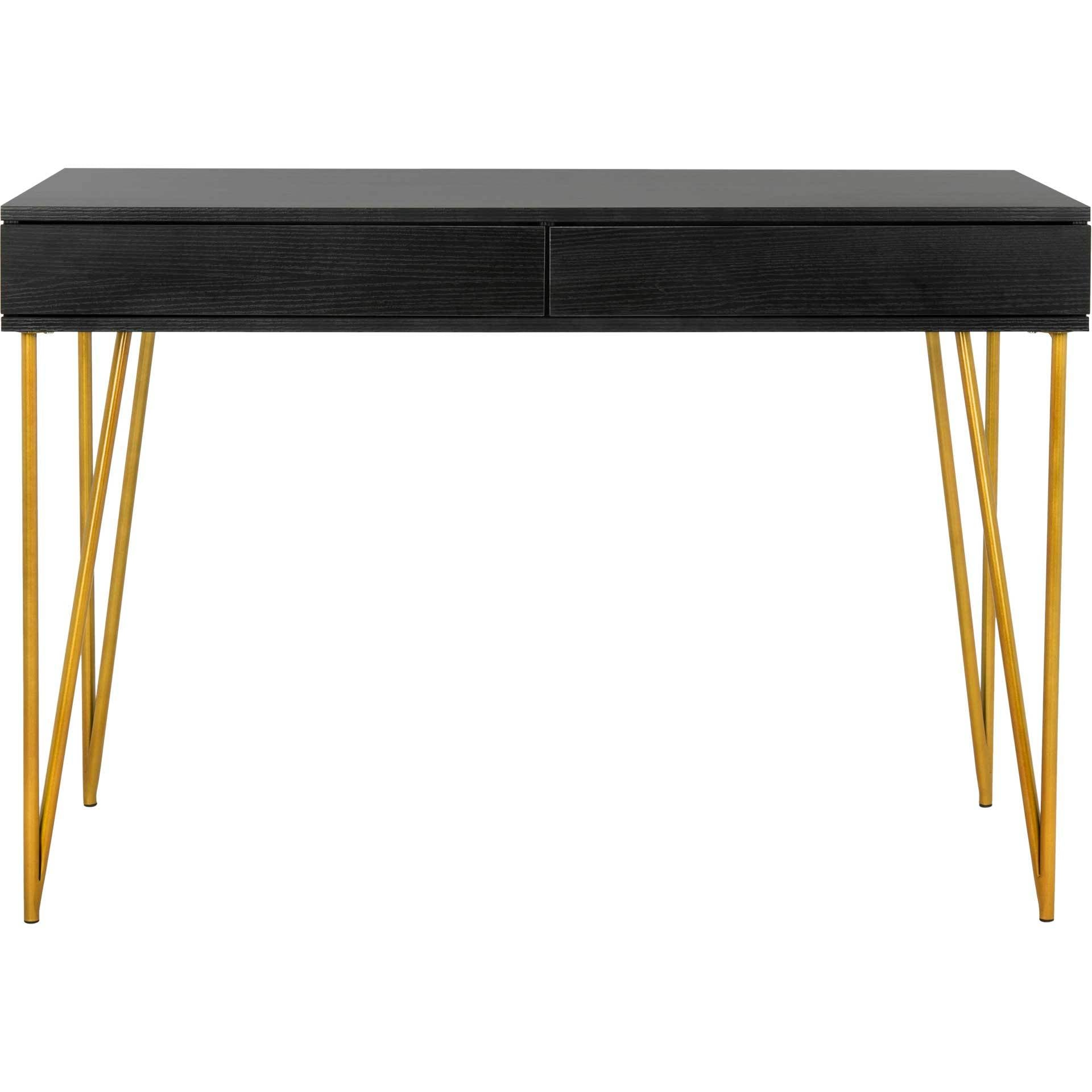 Pierce Two Drawer Desk Black/Gold