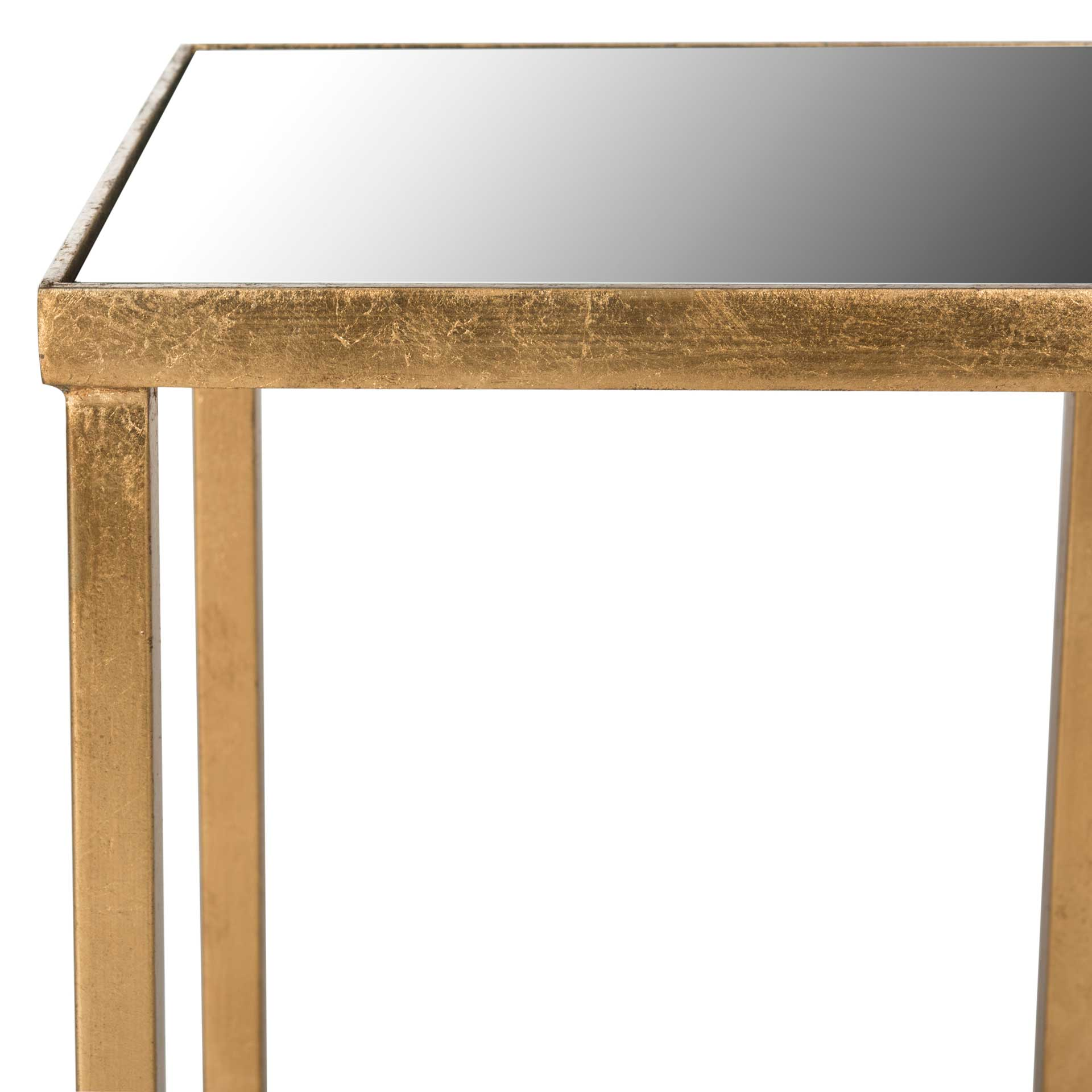 Hakeem Mirror Top End Table Antique Gold