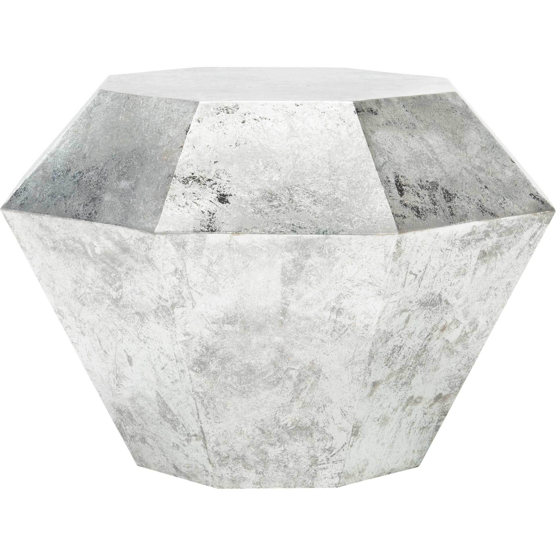 Grey Diamond Accent Table Antique Silver