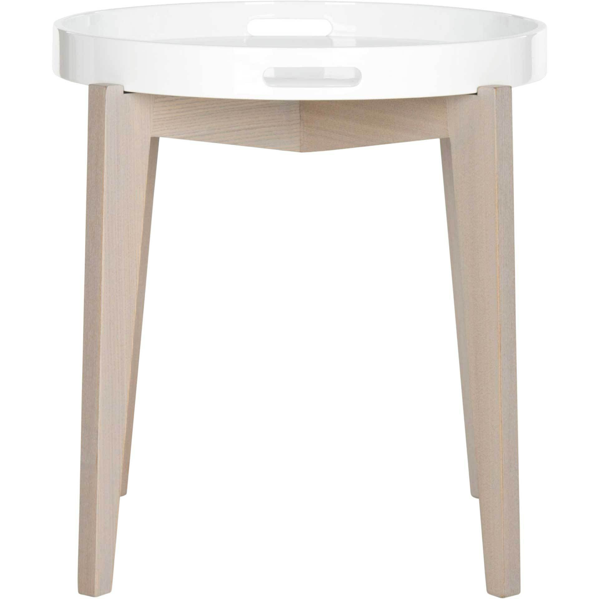 Beckett Lacquer Tray Top Side Table White/Beige