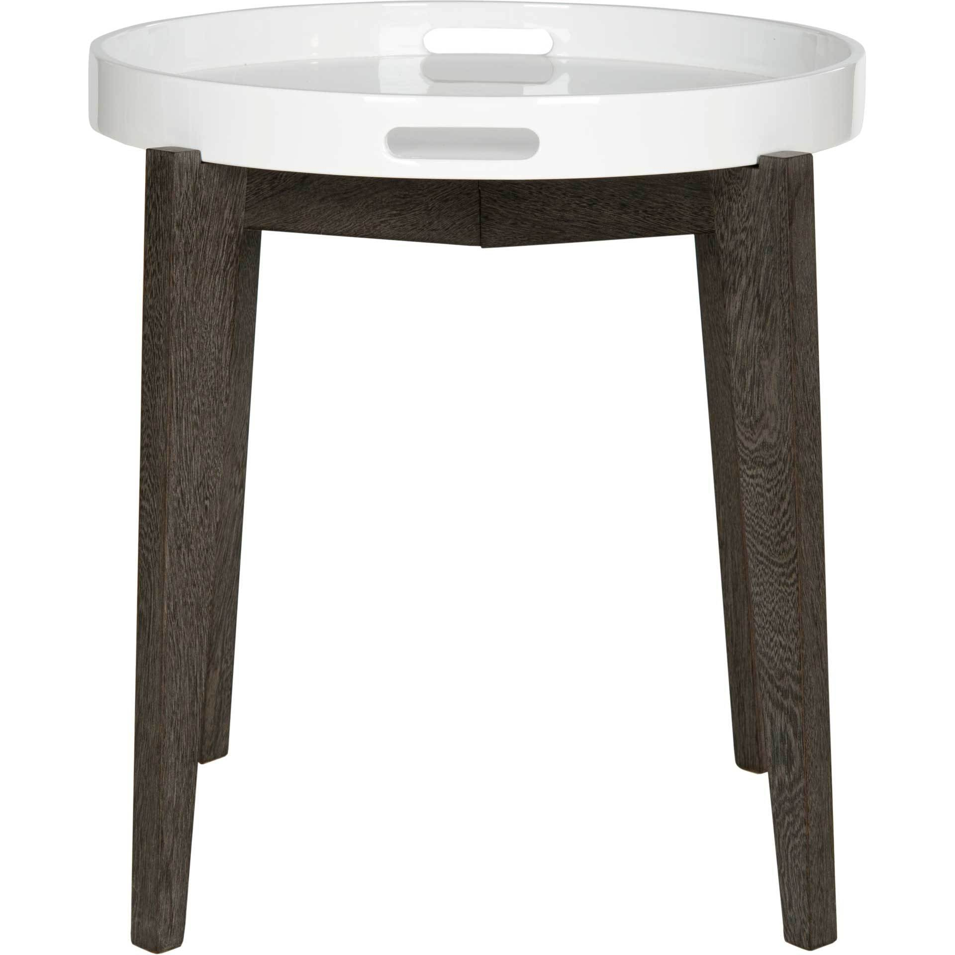 Beckett Lacquer Tray Top Side Table White/Brown