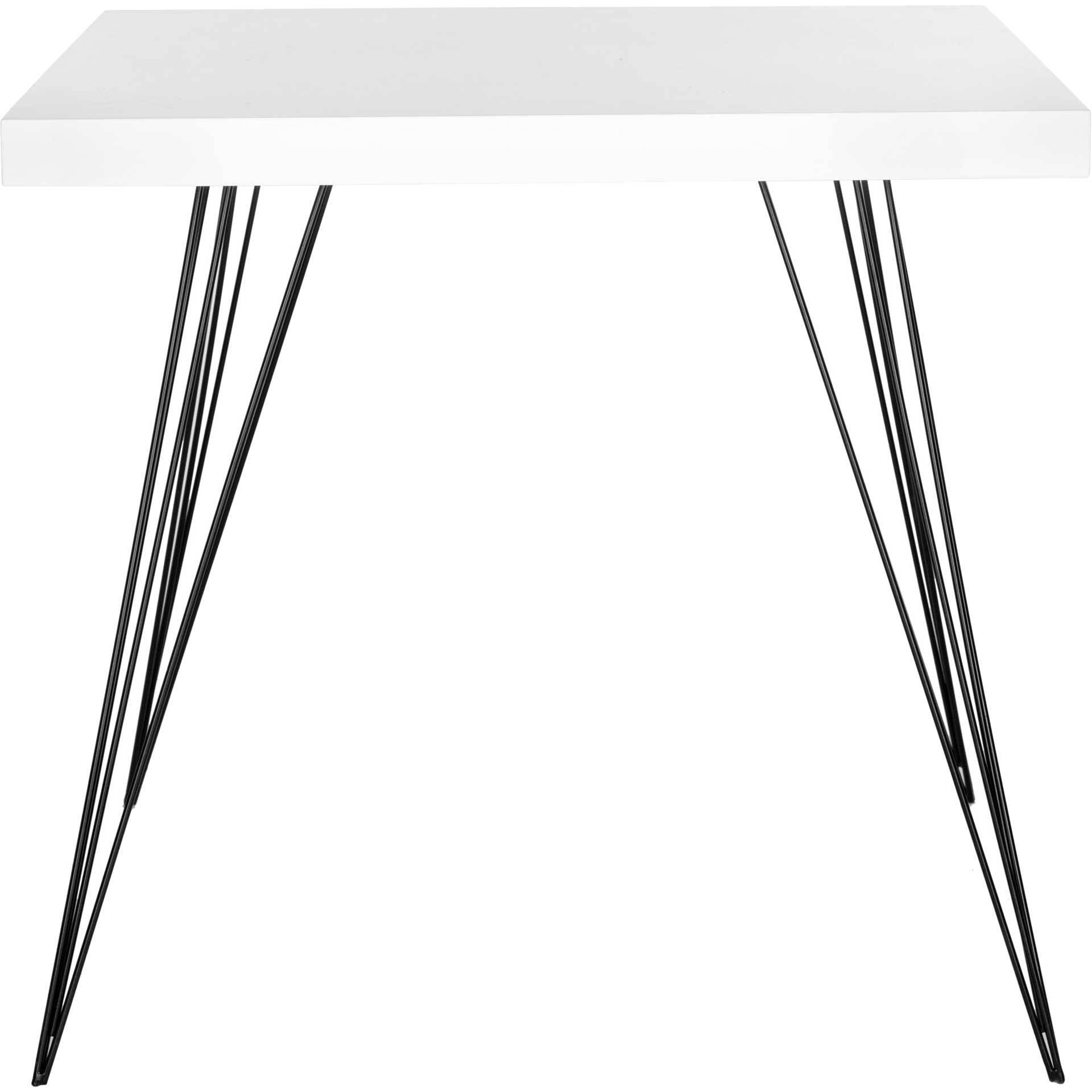 Woven Square Lacquer Accent Table White