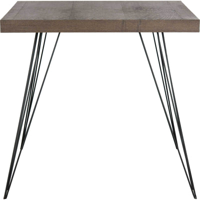 Woven Square Wood Accent Table Dark Brown