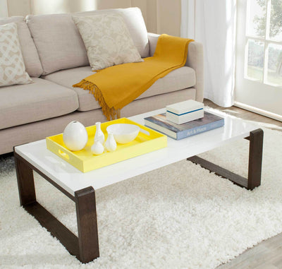 Balin Lacquer Coffee Table White/Dark Brown