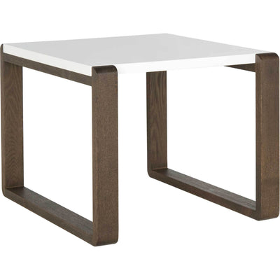 Balin Lacquer End Table White/Dark Brown