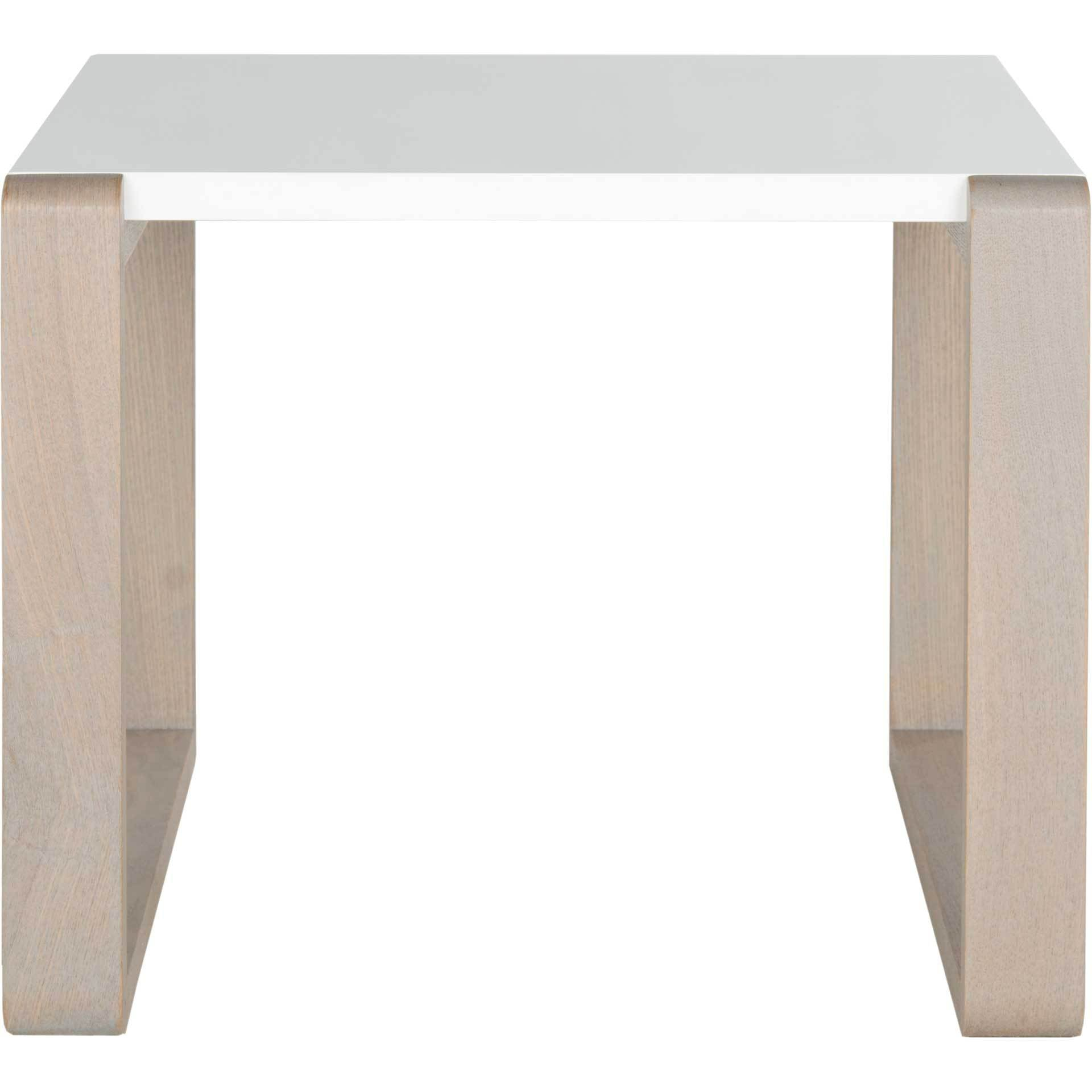 Balin Lacquer End Table White/Gray