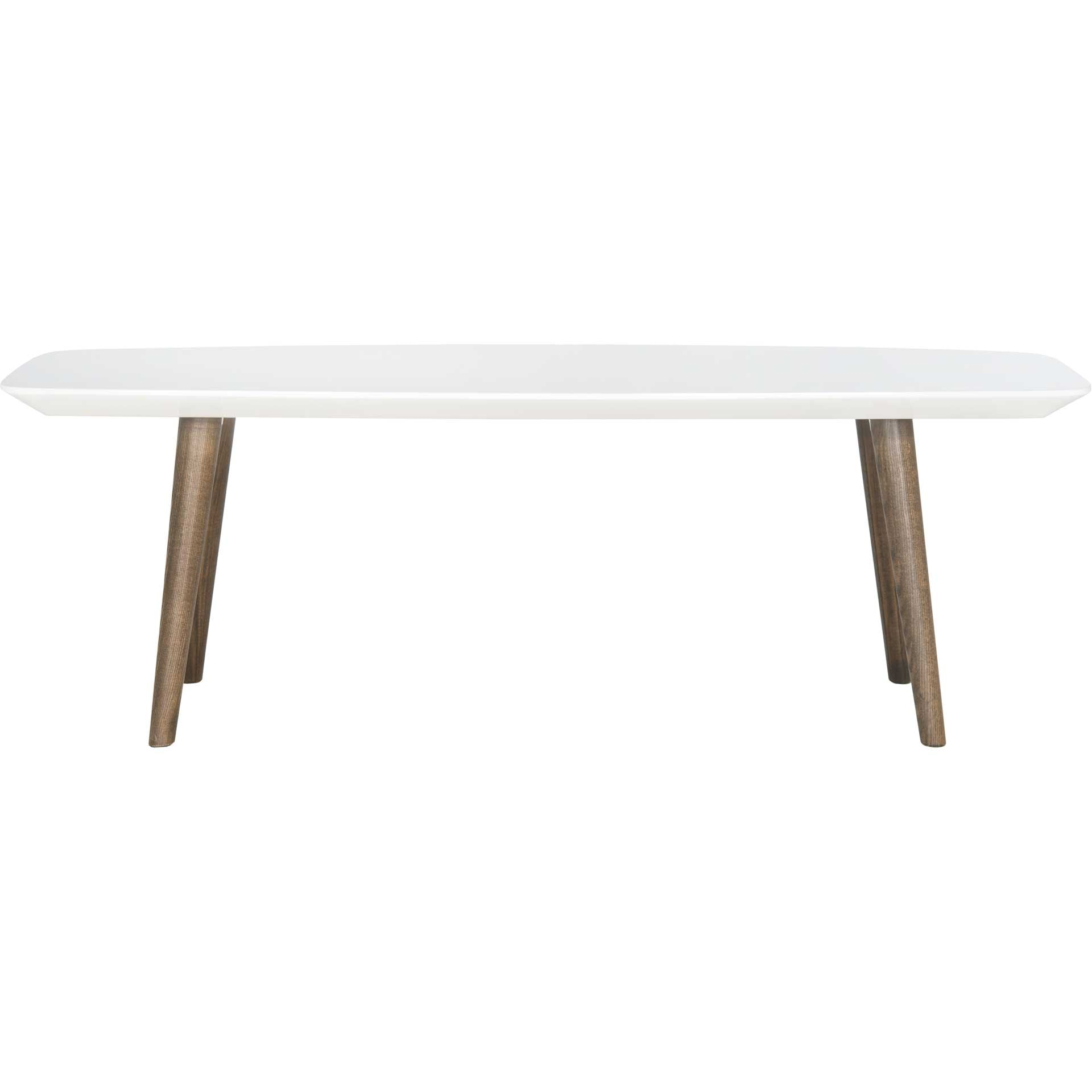 Jocelyn Lacquer Coffee Table White/Dark Brown