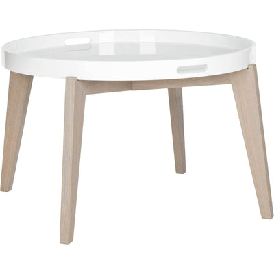 Ece Tray Top Lacquer End Table White/Gray
