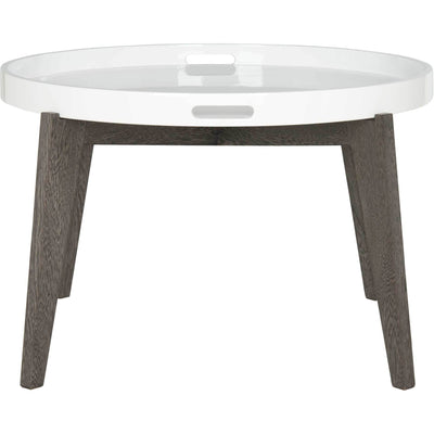 Ece Tray Top Lacquer End Table White/Dark Brown