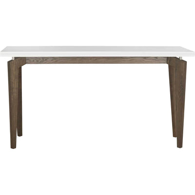 Joziah Lacquer Floating Top Console White/Dark Brown