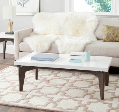 Joziah Lacquer Floating Top Coffee Table White/Dark Brown