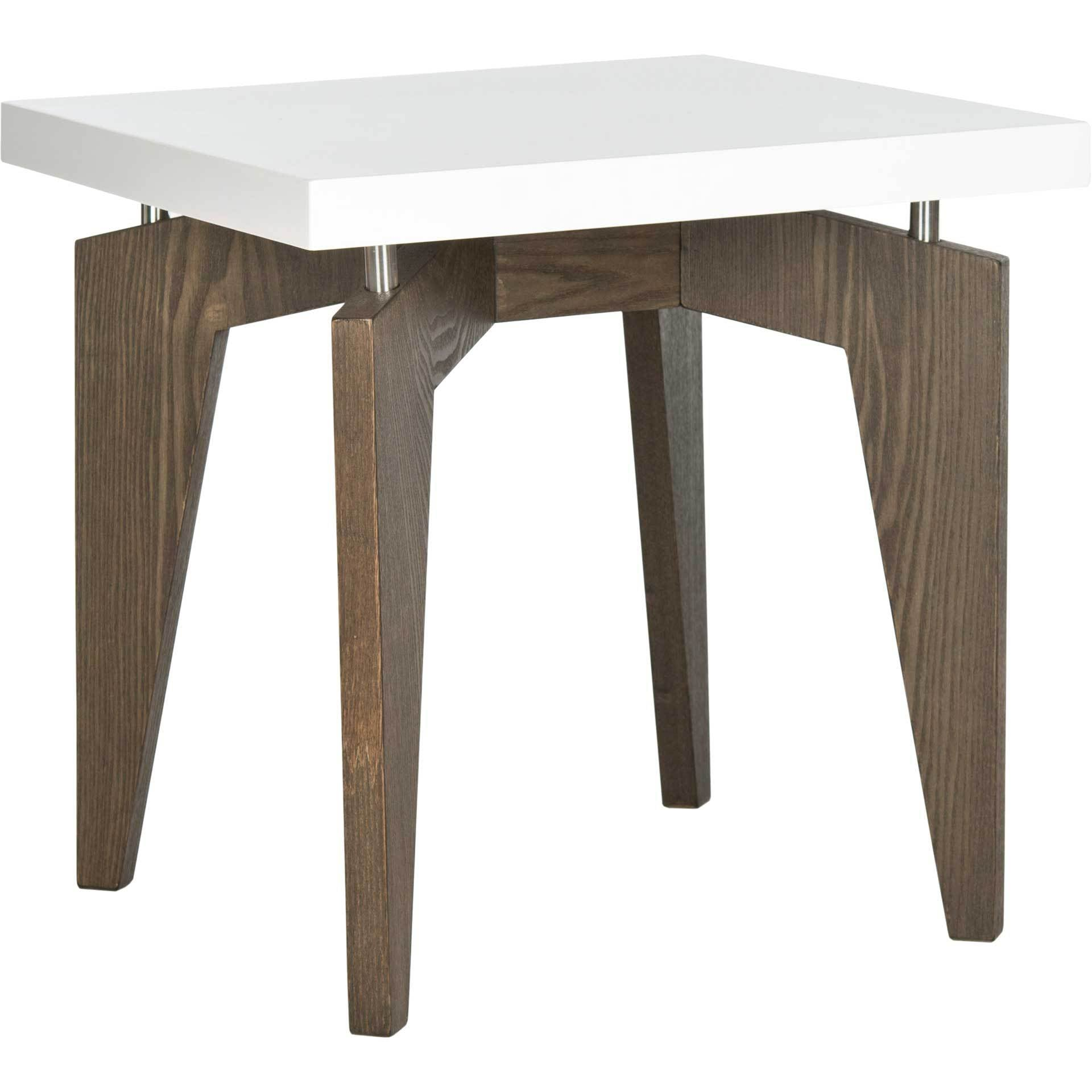 Joziah Lacquer Floating Top End Table White/Dark Brown