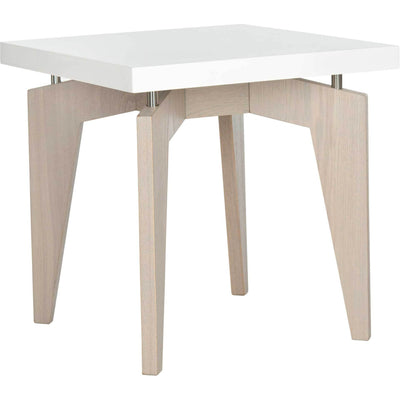 Joziah Lacquer Floating Top End Table White/Gray