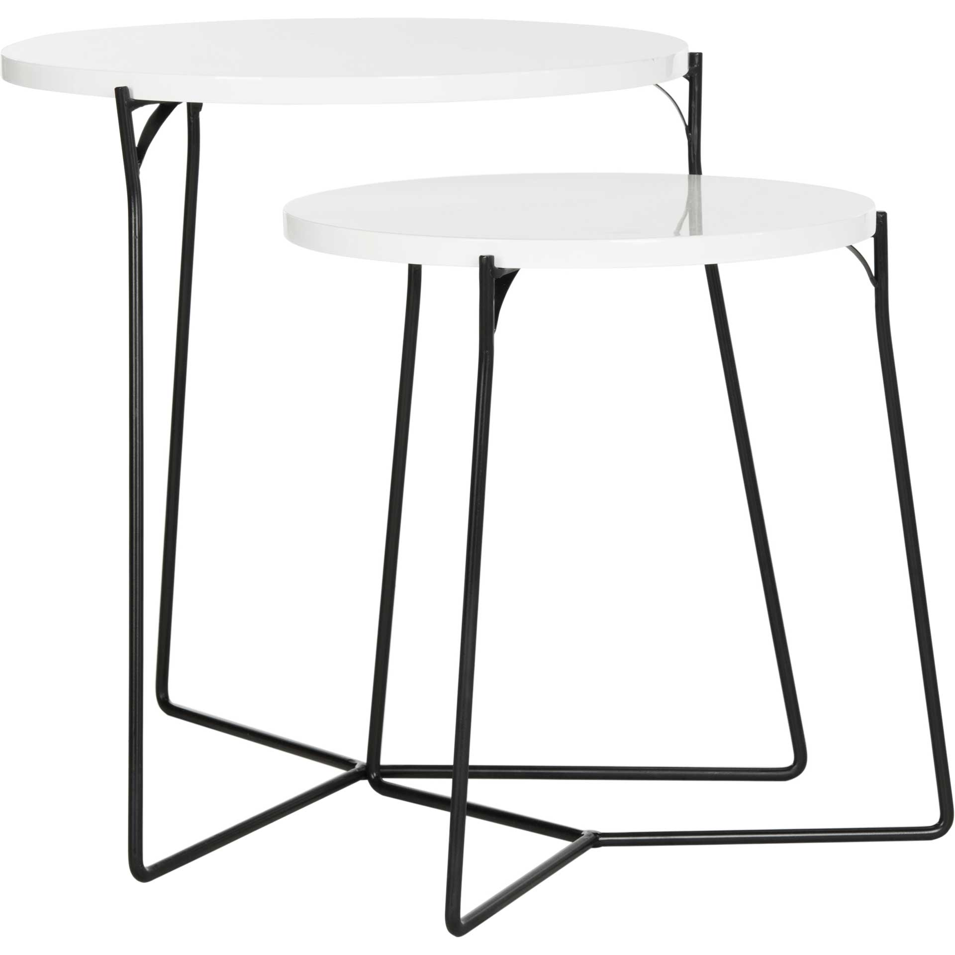 Rylan Lacquer Stacking End Table White/Black