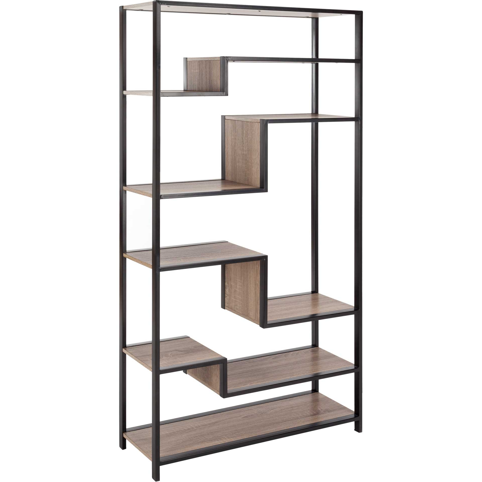 Jordan Retro Mid Century Wood Etagere Oak/Black
