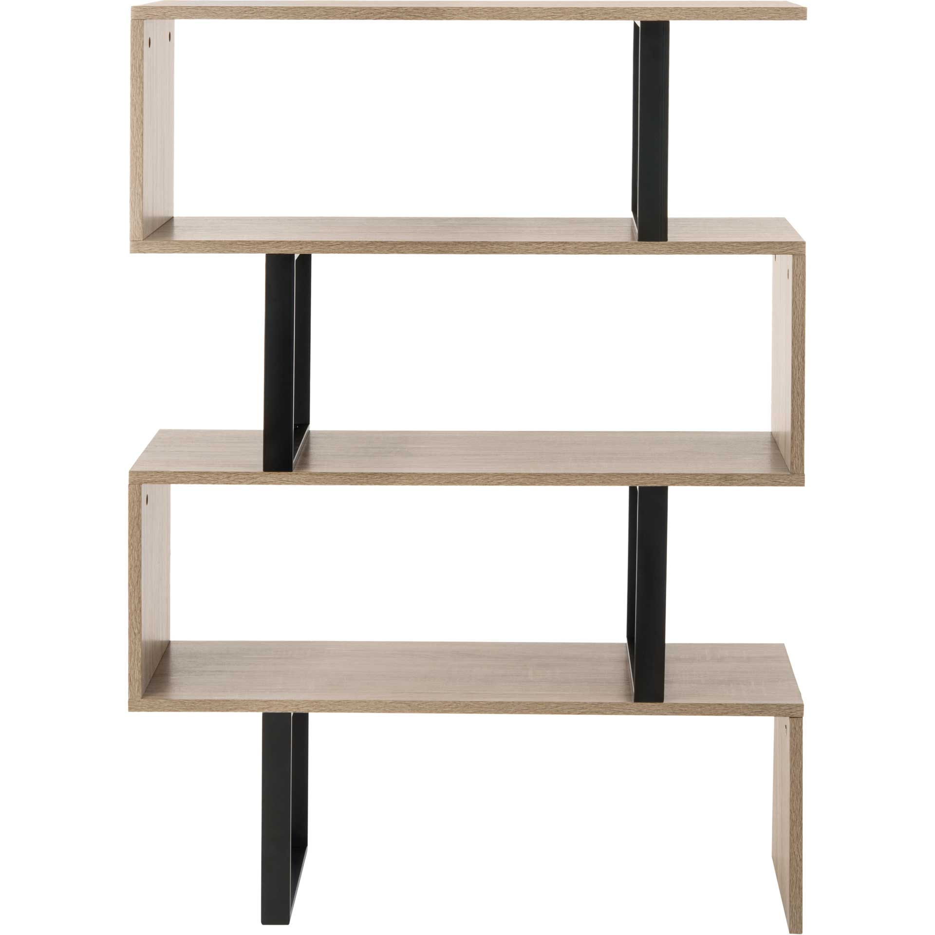 Lonny Retro Mid Century Wood Etagere Oak/Black