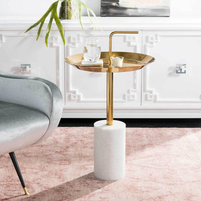 April Round Brass Top Side Table