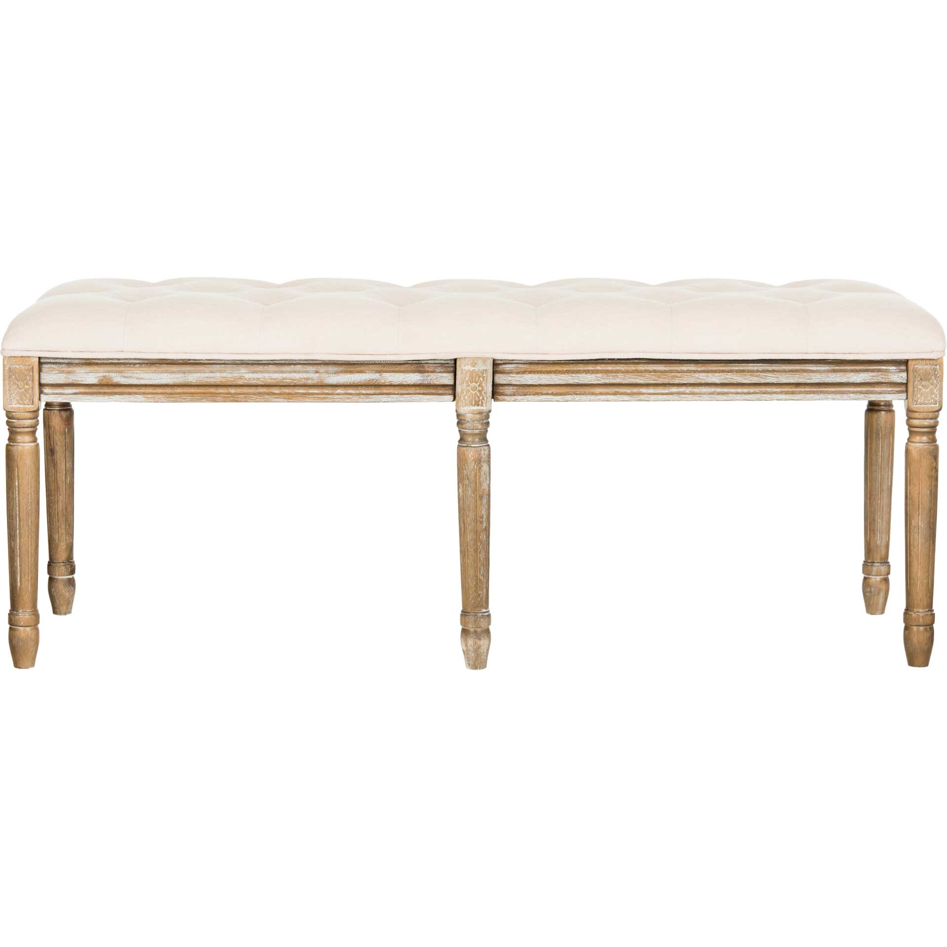Roam Tufted Wood Bench Beige/Rustic Oak