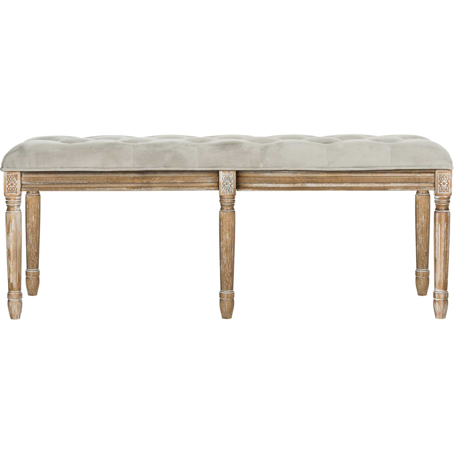 Roam Tufted Wood Bench Gray/Rustic Oak