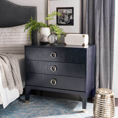 Lorenzo 3 Drawer Contemporary Nightstand Navy
