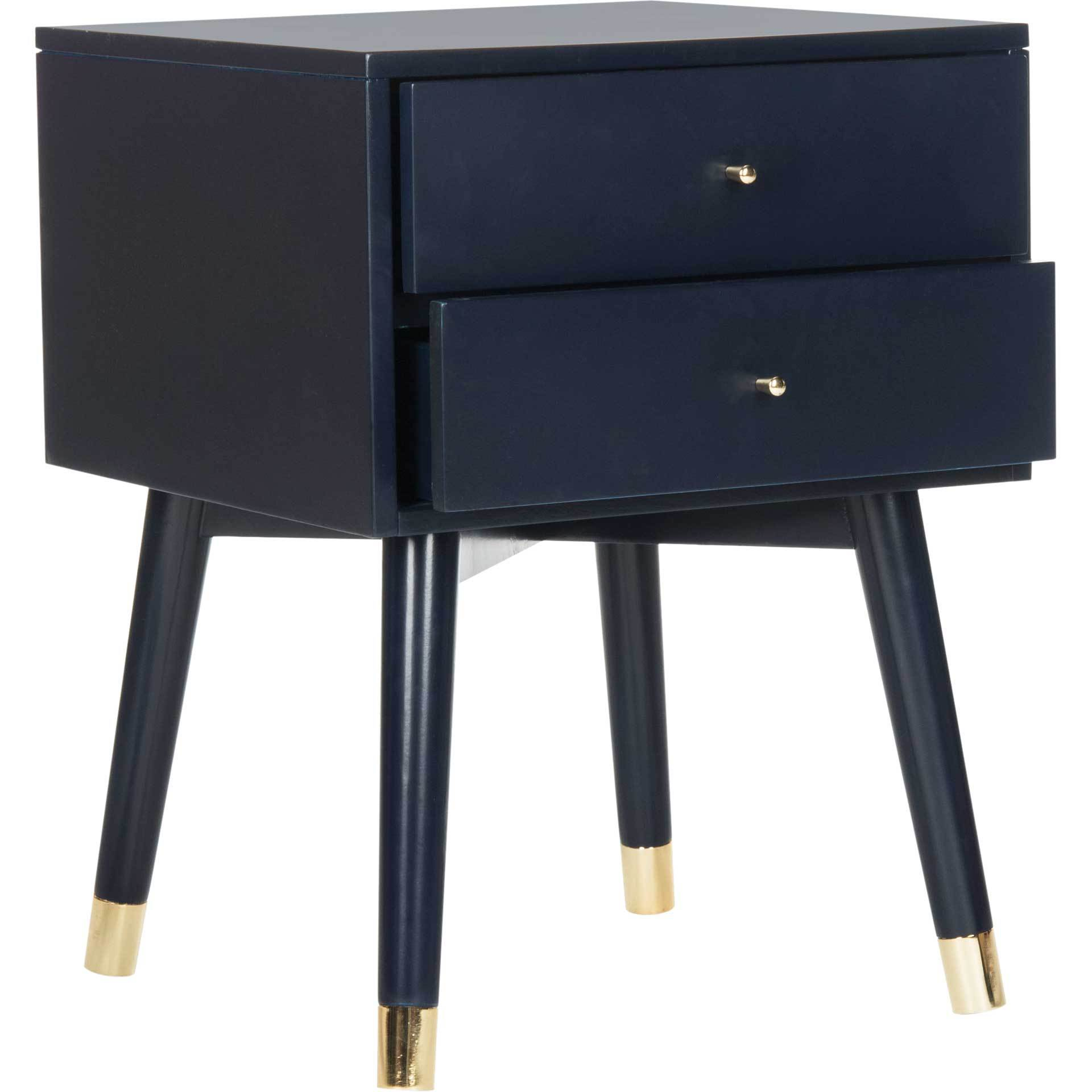Lydia Gold Cap Nightstand Navy