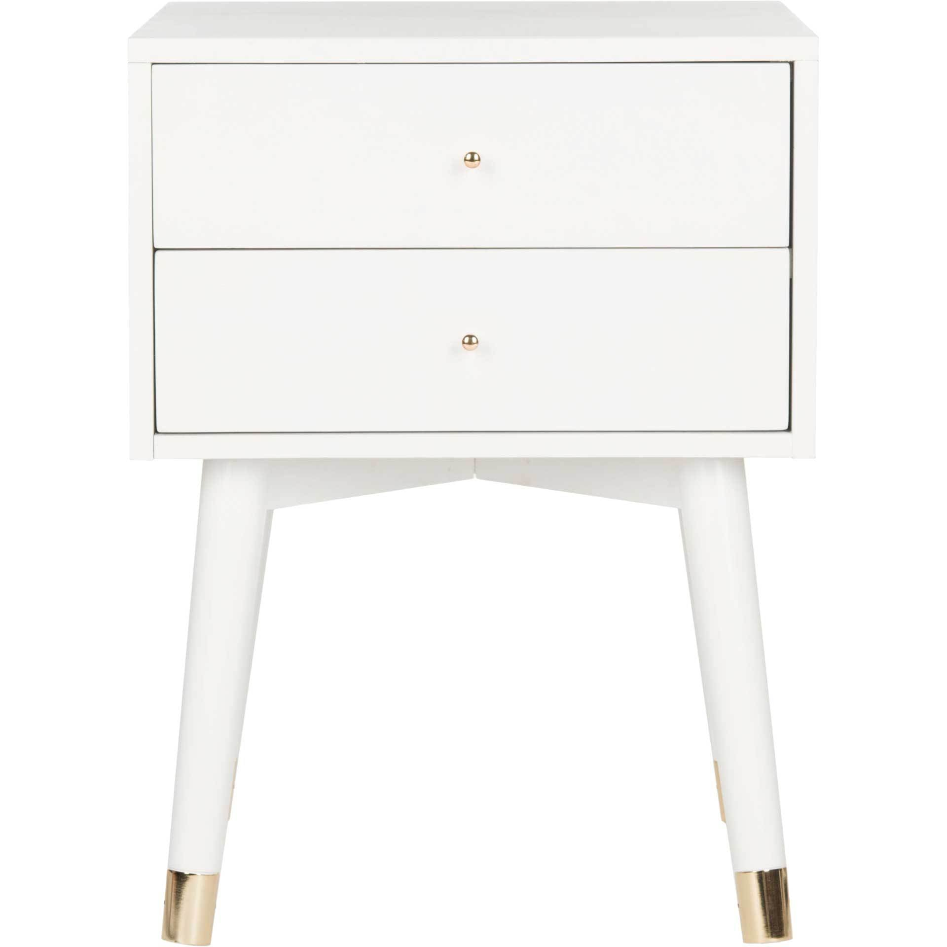 Lydia Gold Cap Nightstand White