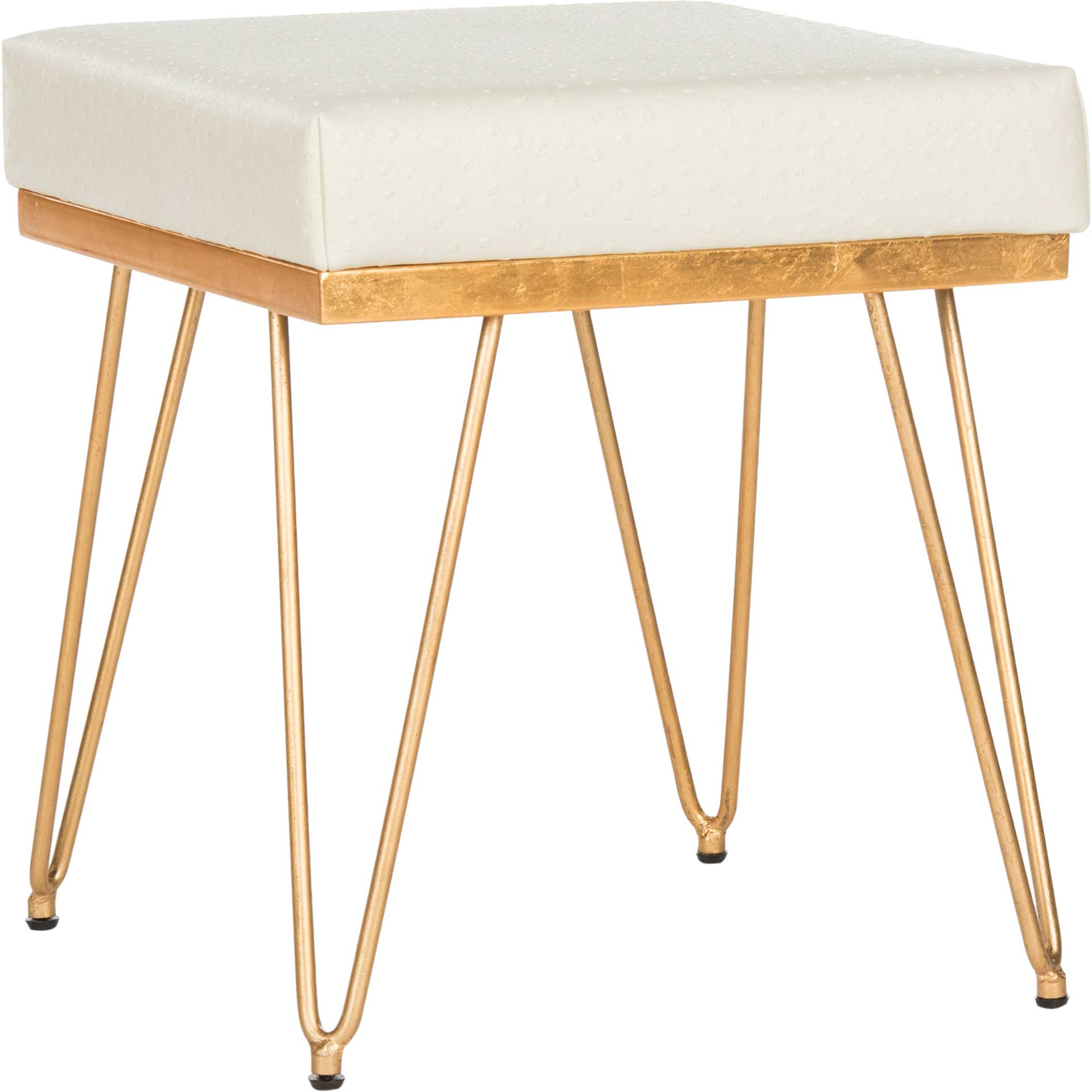 Jennifer Faux Ostrich Square Bench Cream