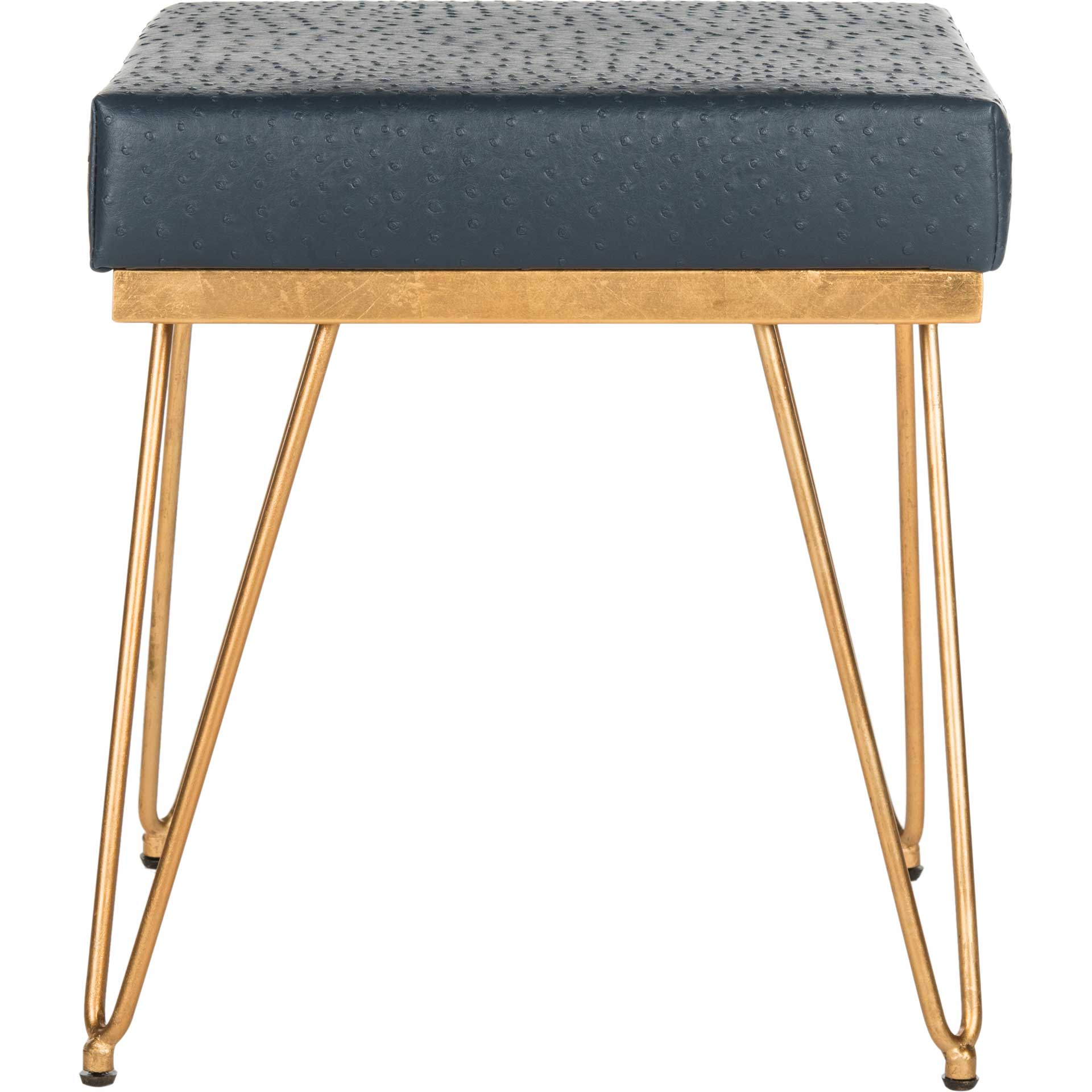 Jennifer Faux Ostrich Square Bench Navy