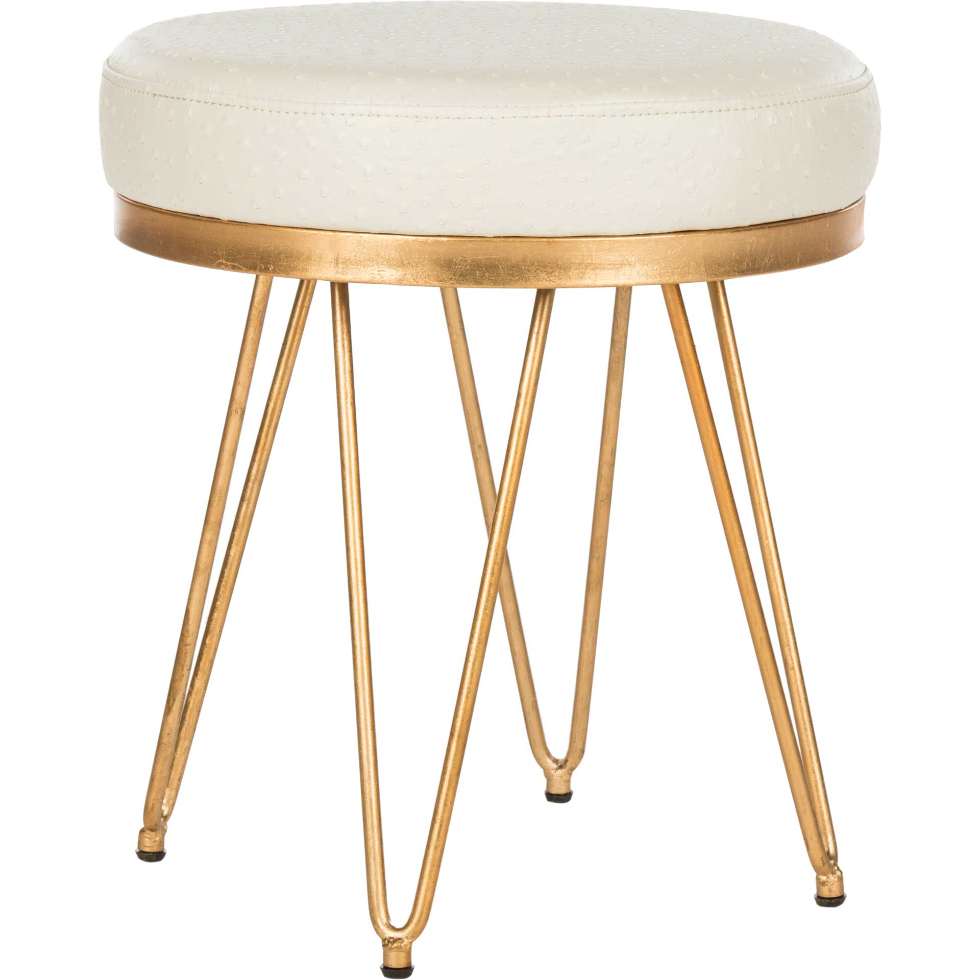Jennifer Faux Ostrich Round Bench Cream