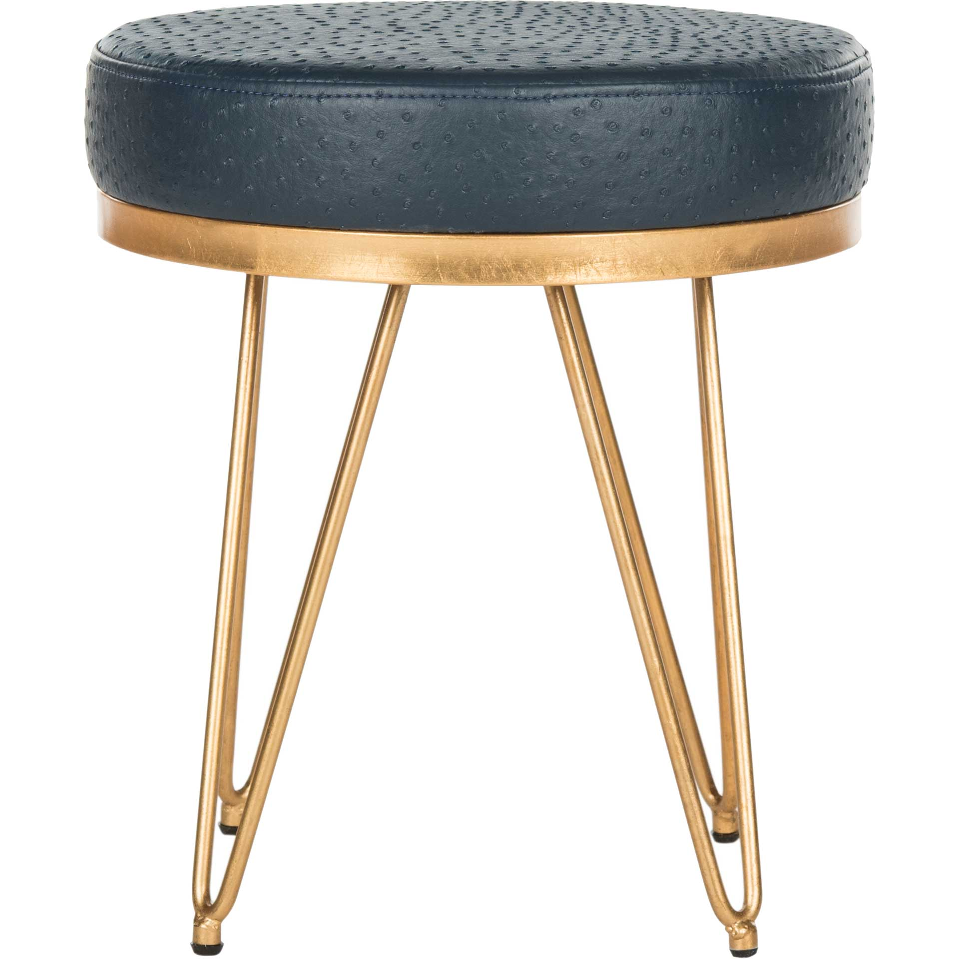 Jennifer Faux Ostrich Round Bench Navy